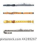 Flute icon set, cartoon style 44289267