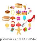 Outing icons set, cartoon style 44290562