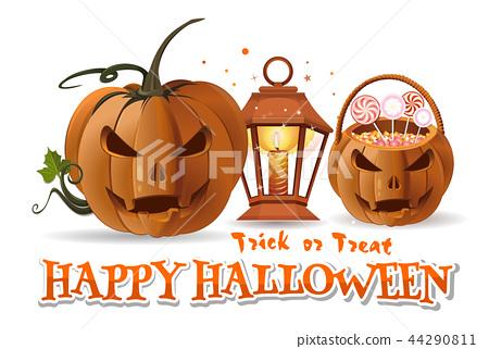 Halloween paper art with Halloween design elements 44290811