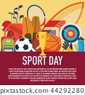 sport concept. Sports equipment background. 44292280