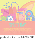 sport concept. Sports equipment background. 44292281