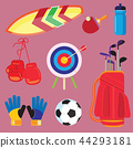 Sports Equipment, Flat Objects Set, Icons 44293181