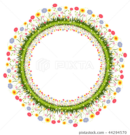 Vector illustration of flower circle frame 44294570