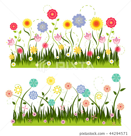 green grass and colorful flower vector 44294571
