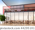 Cafe & Restaurant with city view , 3d rendering 44295101