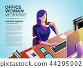 Office Woman Working Clip Art in Vector 44295992