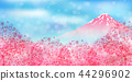 Mt. Fuji cherry blossom background 44296902