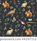 Watercolor forest animal pattern 44297112