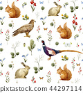 Watercolor forest animal pattern 44297114