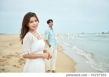 여름, 바다, 데이트, 커플, 연인, 여자, 남자, 해변 44297368
