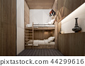 Interior of Bunk bed room , 3d rendering 44299616