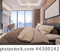 3D Rendering of cozy suite room with city view 44300142