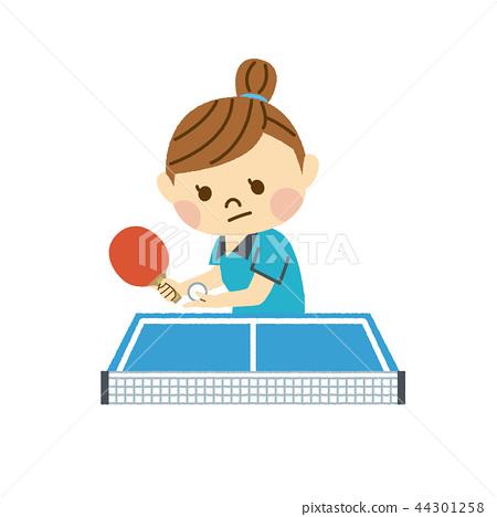 打乒乓球的女人 44301258