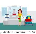 Worker Sitting by Counter Vector Illustration 44302159