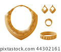 Golden Jewelry Pieces Vector Illustration 44302161