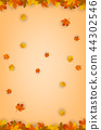 Autumn background with falling leaves. Red, yellow and orange autumn leaves. Vector 44302546