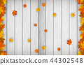 Autumn background with falling leaves. Red, yellow and orange autumn leaves. Vector 44302548