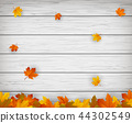 Autumn background with falling leaves. Red, yellow and orange autumn leaves. Vector 44302549