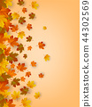 Autumn background with falling leaves. Red, yellow and orange autumn leaves. Vector 44302569