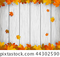 Autumn background with falling leaves. Red, yellow and orange autumn leaves. Vector 44302590