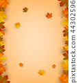 Autumn background with falling leaves. Red, yellow and orange autumn leaves. Vector 44302596