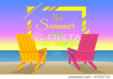 Hot Summer Days Poster with Sunbeds on Beach Frame 44302710