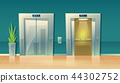 Vector cartoon empty hallway elevators - closed and open 44302752