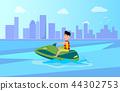 Jet Ski Summer Activity Sea Vector Illustration 44302753