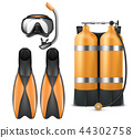 Vector diver equipment, snorkel mask and flippers 44302758