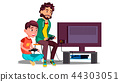 Father And Son Play Video Games Sitting Together Vector. Isolated Illustration 44303051
