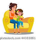 Little Girl And Mother Reads A Book On The Sofa Vector. Isolated Illustration 44303061