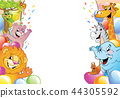 Cartoon cheerful animals, holiday background 44305592