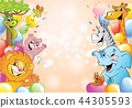 Cartoon cheerful animals, holiday background 44305593