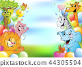 Cartoon cheerful animals, holiday background 44305594
