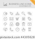 Business line icons set on a white background 44305628