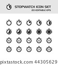 Stopwatch icons set on a white background 44305629
