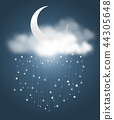 the crescent moon and clouds with meteor showers 44305648