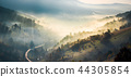 valley, fog, hill 44305854