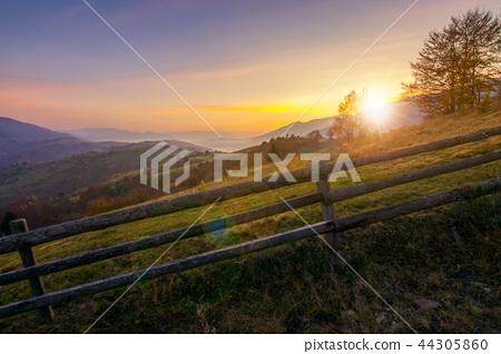 beautiful sunrise in mountains 44305860