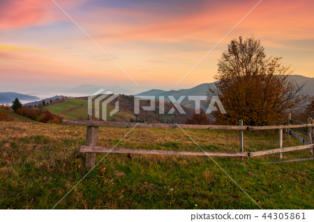 rural area in mountains at dawn 44305861