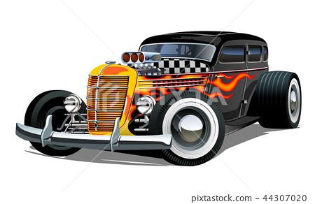Cartoon retro hot rod isolated on white background 44307020