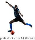 one african soccer player man isolated white background silhouet 44309943