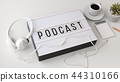 Podcast concept with headphone on white background 44310166