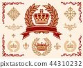 冠,月桂树,装饰品集,矢量 44310232