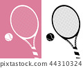 Silhouette Tennis Racket And Ball on Pastel Pink 44310324