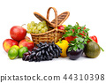 Ripe fresh vegetables and fruits in basket  44310398