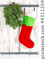 Red sock green christmas tree branch Vintage style 44311204