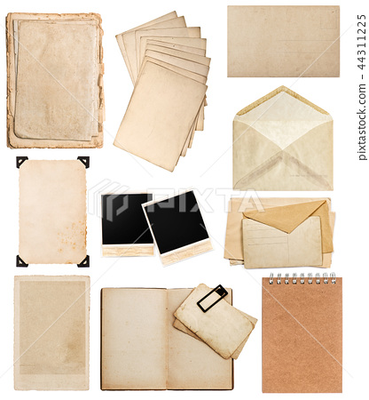 Old paper sheets Vintage photo album book page 44311225
