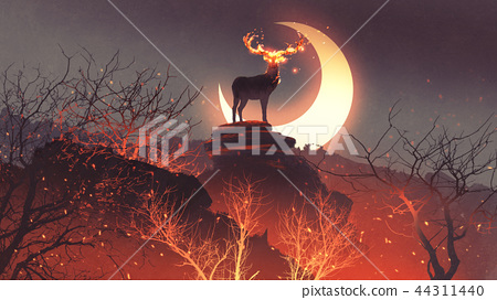 the deer from hell in fire forest 44311440