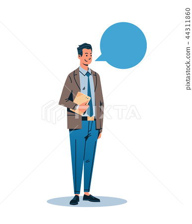 businessman holding tablet chat bubble communication concept business man male cartoon character 44311860